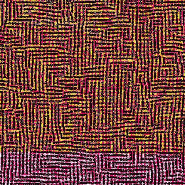 Ming Shum. Openwork 1. Acrylic on canvas. 1m x 1m.